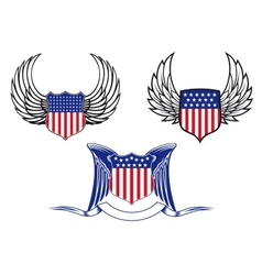 American shields with angel wings vector