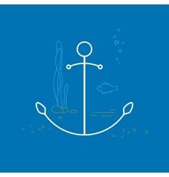 Anchor Line Style Design vector