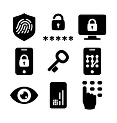 Authentication icons set 03 in black and white vector