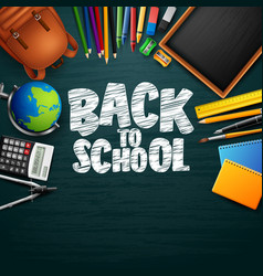 back to school background with stationery and scho vector image