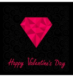Big pink polygonal diamond Happy Valentines Day vector image