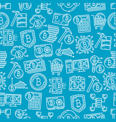 bitcoin cryptocurrency digital pattern background vector image