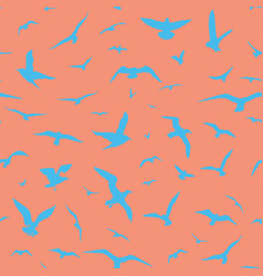 blue birds on pink background vector image