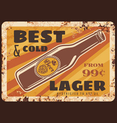 bottle beer rusty metal plate brewery production vector image