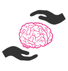 brain care hands icon vector image