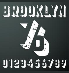 brooklyn numbers vintage t-shirt stamp vector image