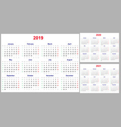Calendar grid for 2019 2020 and 2021 years set vector