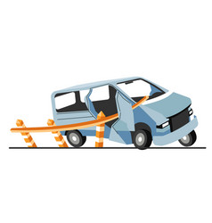 car crash damages vehicle collision with road vector image