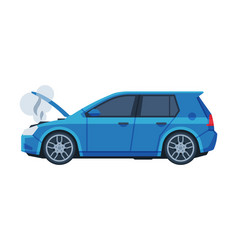 Car with open hood with steam coming out the vector