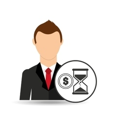 Cartoon business man sand clock money design vector