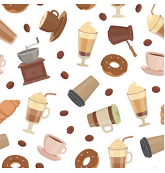 Cartoon coffee types pattern or background vector
