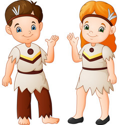 Cartoon couple native indian american with traditi vector