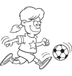 Cartoon Girl Playing Soccer vector
