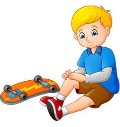 cartoon sad skater falling of his skateboard vector image
