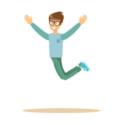 Casual man jumping and smiling vector