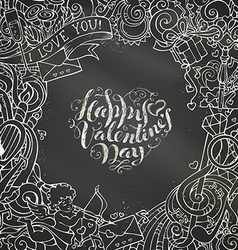 Chalk Happy Valentines Day background vector