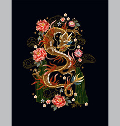 chinese traditional dragon peonies and sakura vector image