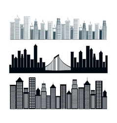 Cityscape buildings background icon vector