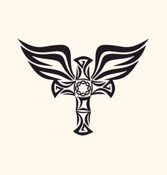 cross and holy spirit wings vector image
