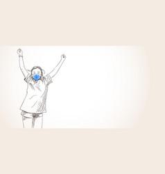 dancing girl in blue face mask for coronavirus vector image