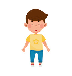 Dark-haired boy standing with astonished face vector
