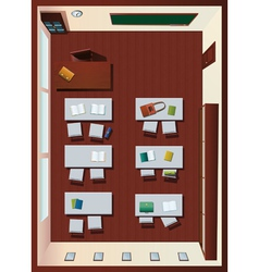 Detailed aerial view classroom vector
