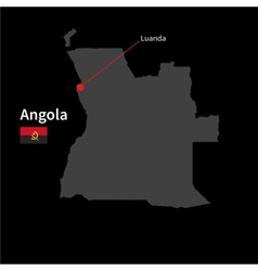 Detailed map of angola and capital city luanda vector