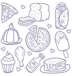 doodle of food various collection vector image vector image