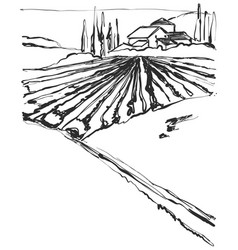 farm hills drawing landscape sketch field and vector image