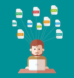 File extensions people with computers vector