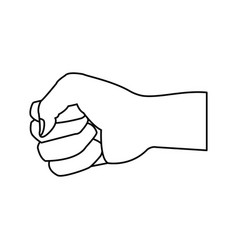 fist hand gesture cartoon on white background vector image