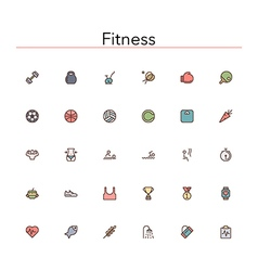 Fitness Colored Line Icons vector image