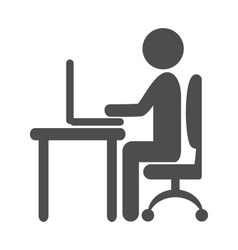 Flat computer work pictogram icon isolated on vector