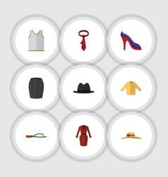 Flat icon dress set of heeled shoe panama vector