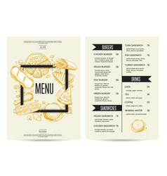 Food menu with burgers sandwiches and drinks vector