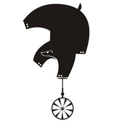 funny bear rides on unicycle isolated vector image