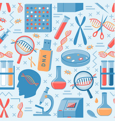 genome research seamless pattern in flat style vector image
