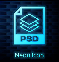Glowing neon psd file document icon download psd vector