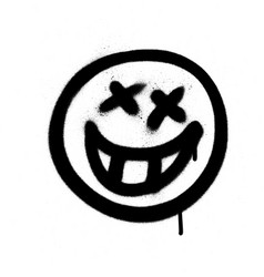 Graffiti emoji with a grin sprayed in black vector