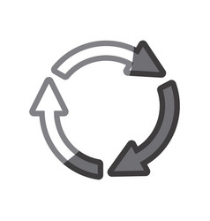 Grayscale silhouette of arrows circle reload vector