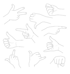Hands in different gestures and interpretations vector image
