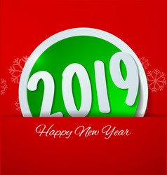 Happy new year 2019 cut paper on red background vector
