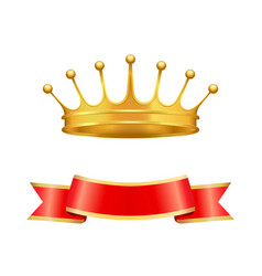 Heraldic symbols golden crown and silk ribbon vector