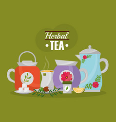 herbal tea teapots and cup lemon seeds and sugar vector image