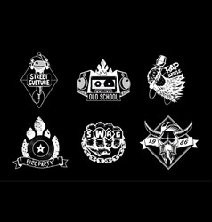 hip hop vintage icon set black and white rap vector image