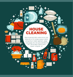 House cleaning service promotional emblem with vector