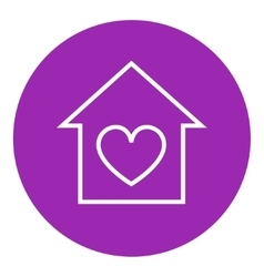 House with heart symbol line icon vector image