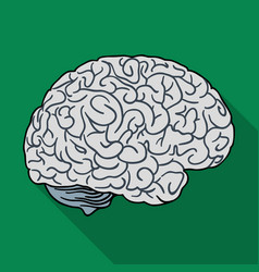Human brain icon in flat style isolated on white vector