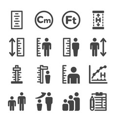 Human height icon set vector