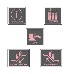 information signboard elevator signescalators vector image